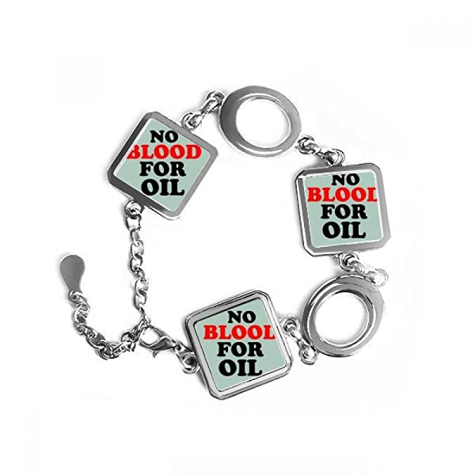 Amazon No Blood For Oil Love And Peace World Square Shape Metal