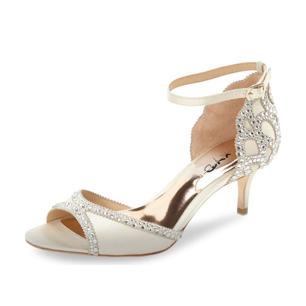 XYD Ballroom Dance Shoes Wedding Sandals Pumps with Rhinestones Ankle Strap Peep Toe Heels for Women Size 8 Ivory