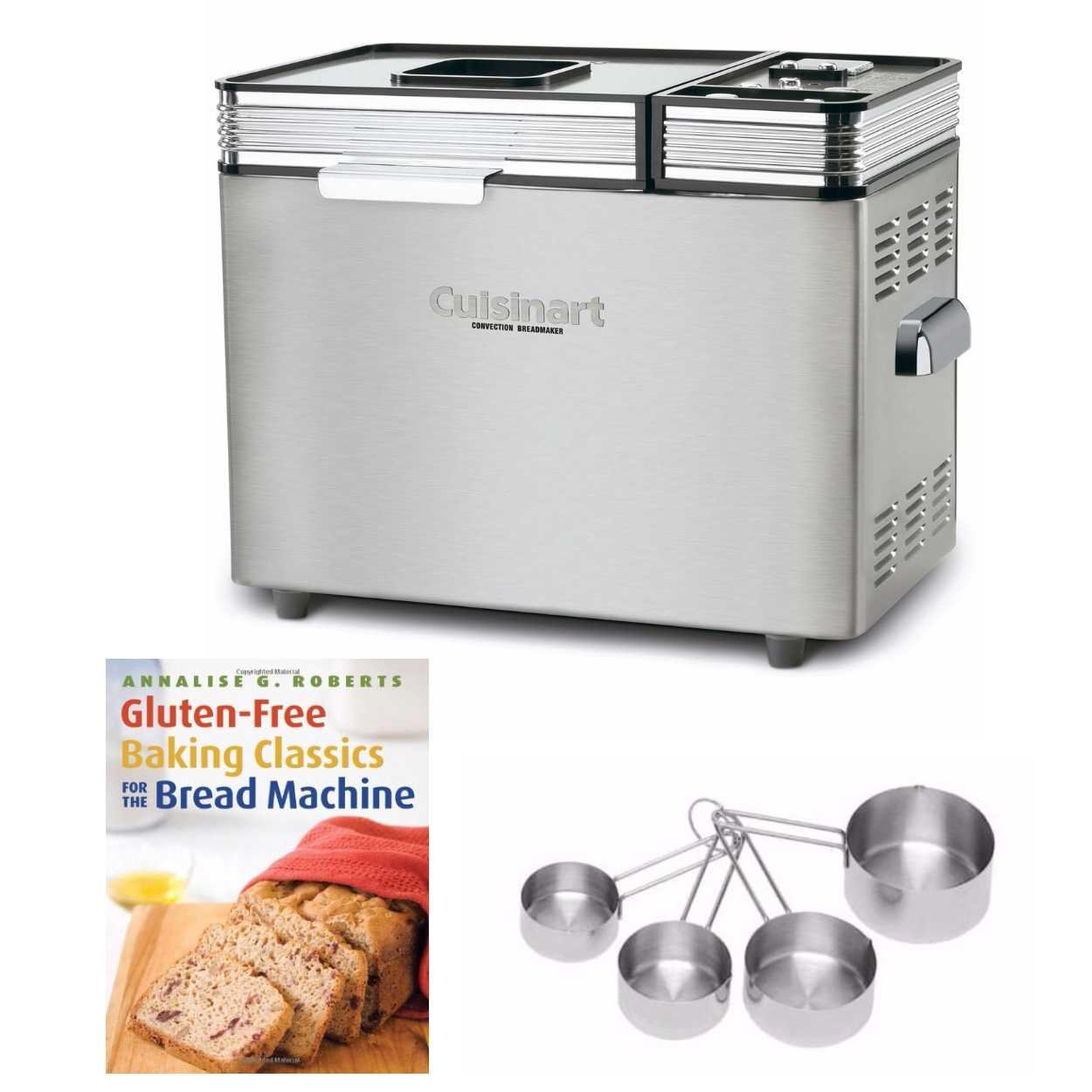 Cuisinart CBK-200 2-Lb Convection Bread Maker Includes Gluten-Free Bread Cookbook and Stainless Measuring Cup Set (Renewed)