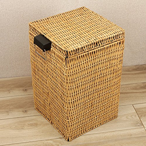 Basket&Ya American Rattan Square Trash Can, Household/Living Room/Kitchen/Bedroom Pedal Bin With Lid (12l Pedal Bin)