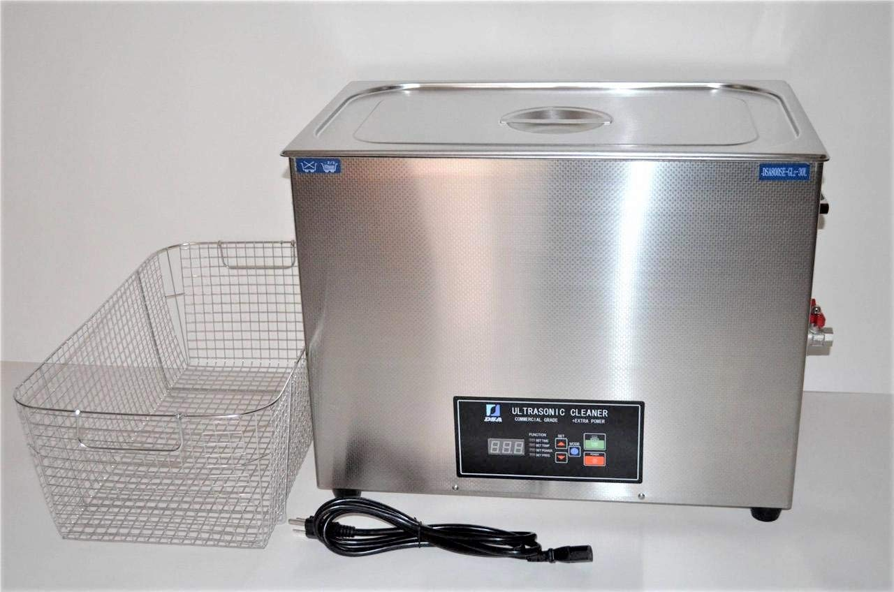 FULL SET: DSA800SE-GL2 30L 8 Gal 1600W ADJUSTABLE 20/40 KHz FREQUENCY HEATED INDUSTRIAL STAINLESS STEEL ULTRASONIC PARTS CLEANER WASHER MACHINE WITH INBOARD BASKET, CLEANING RACK AND TOP COVER LID. PROFESSIONAL JEWELRY DENTAL TATTOO REPAIR SHOPS USE by Desen Precision Instruments Co