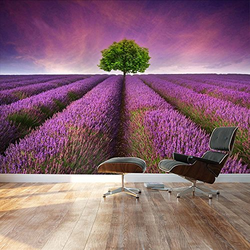 Lone tree on beautiful Lavender field road Landscape Wall Mural