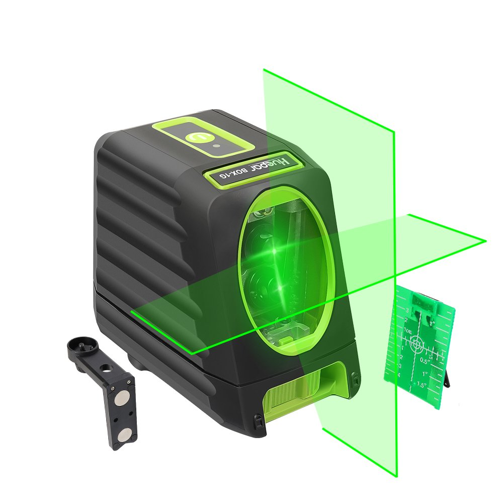 Self-leveling Laser Level - Huepar Box-1G 150ft/45m Outdoor Green Cross Line Laser Level with vertical beam spread covers of 150°, Selectable Laser Lines, 360°Magnetic Base and Battery Included