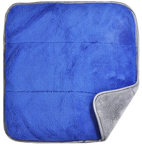 Detailer 365 Ultraplush Premium Microfiber Towels 850 GSM Thread Count for Ultra Smooth Polishing and Drying | Super Absorbent with Silk Lined Border (6 Pack, Blue/Grey 16