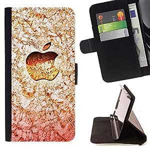 BullDog Case - FOR/Samsung Galaxy Note 3 III / - / Orange Apple /- Monedero de cuero de la PU Llevar cubierta de la caja con el ID Credit Card Slots Flip funda de cuer
