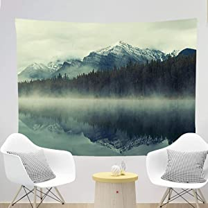 Misty Forest Mountain Lake Tapestry Nature Scene Wall Hanging D¨¦cor Landscape Home Decoration Blanket Curtain