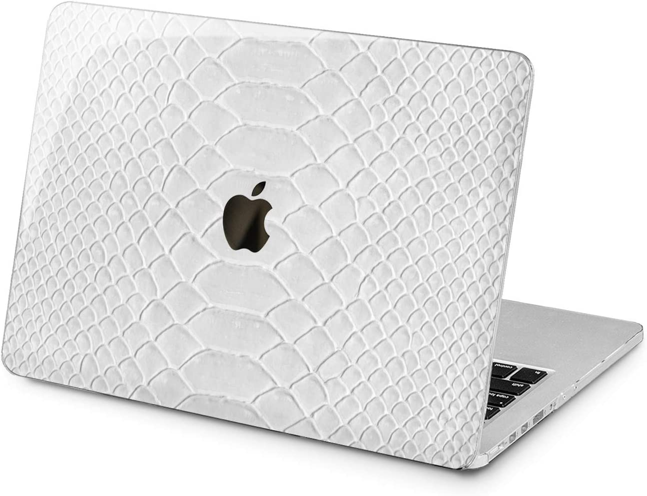 "Cavka Hard Shell Case for Apple MacBook Pro 13"" 2019 15"" 2018 Air 13"" 2020 Retina 2015 Mac 11"" Mac 12"" Texture Royal Plastic Skin Design Snake Leather Cover Laptop Glam Print Grain Protective White"