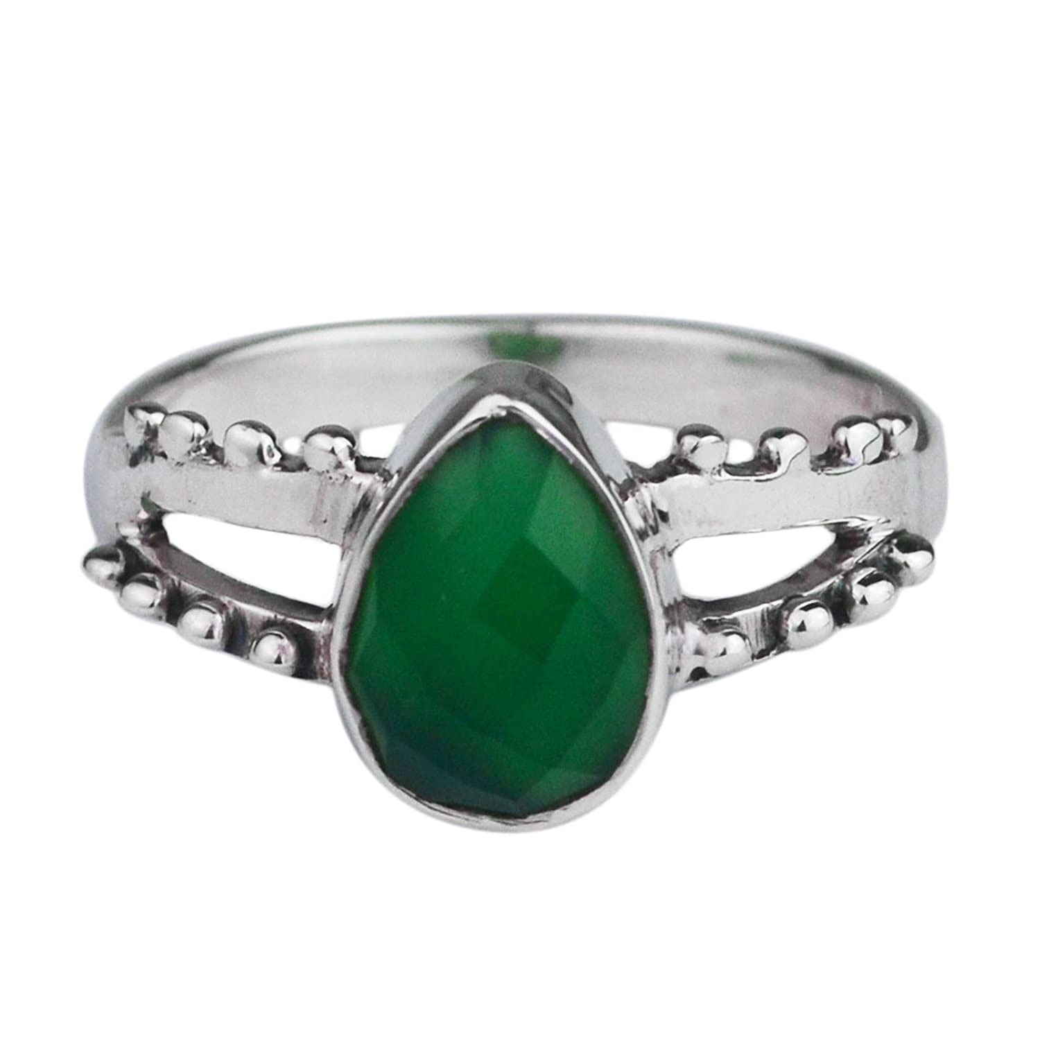 Crystalcraftindia 925 Solid Silver Green Onyx gemstone Rings Size 6 US 2.52 g cci