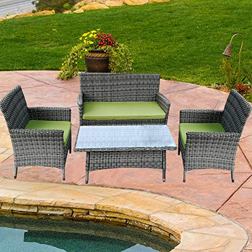 Do4U 4 Pcs Rattan Outdoor Patio Furniture Set Garden Lawn Pool Backyard Sofa Chairs Conversation Set Table (GRY-9028)