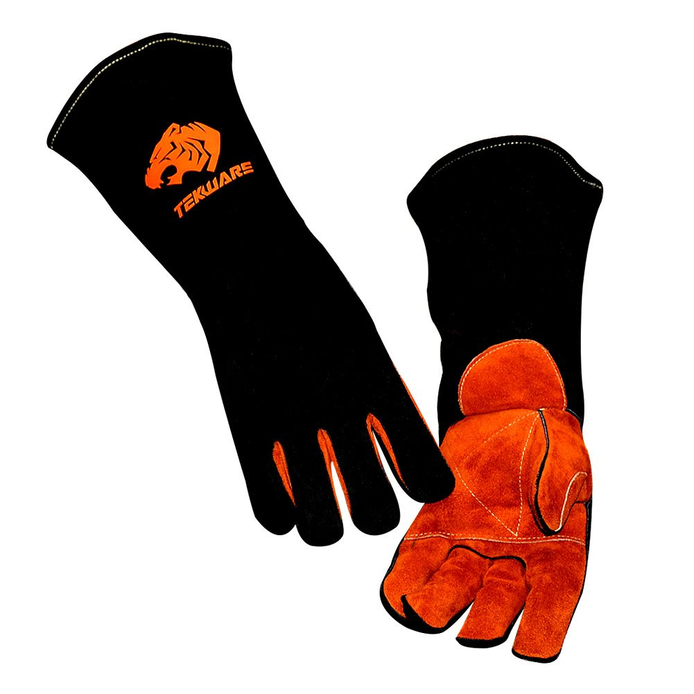 Tekware Premium Cowhide Leather Welding Gloves Fire and Heat Resistant Hand Protectors for Welders Barbecue and Oven, Long Flame Safety Protection