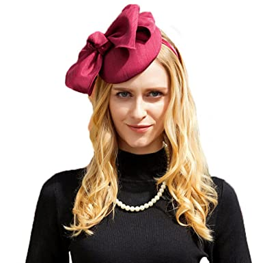 Womans Fascinator Wine Red Royal Wedding Party Pillbox Hat with ... ebf38afce78