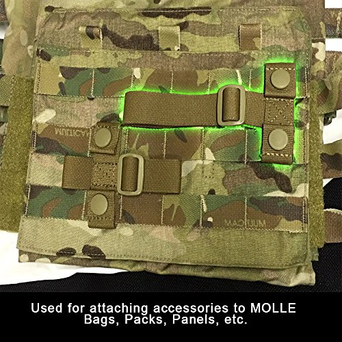 Horizontal Molle Adapter Designed Provide Extra Strap Loop Mounting Points on Malice Molle Pals Surfaces Constructed 100% Mil-Spec Us Military Surplus Webbing and Tan Ghillie-Tex Tri-Glide Set of (2)