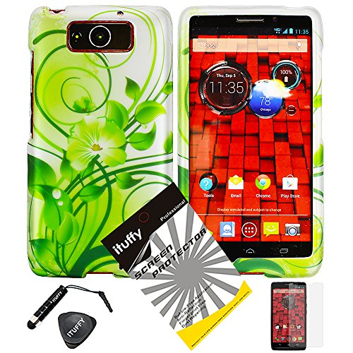 (3 items Combo: ITUFFY (TM) Case Opener + Silver Green Vine Hawaiian Flower Design Rubberized Snap on Hard Shell Cover Phone Case for Verizon Motorola DROID Ultra XT1080 and MOTOROLA DROID MAXX XT1080M)