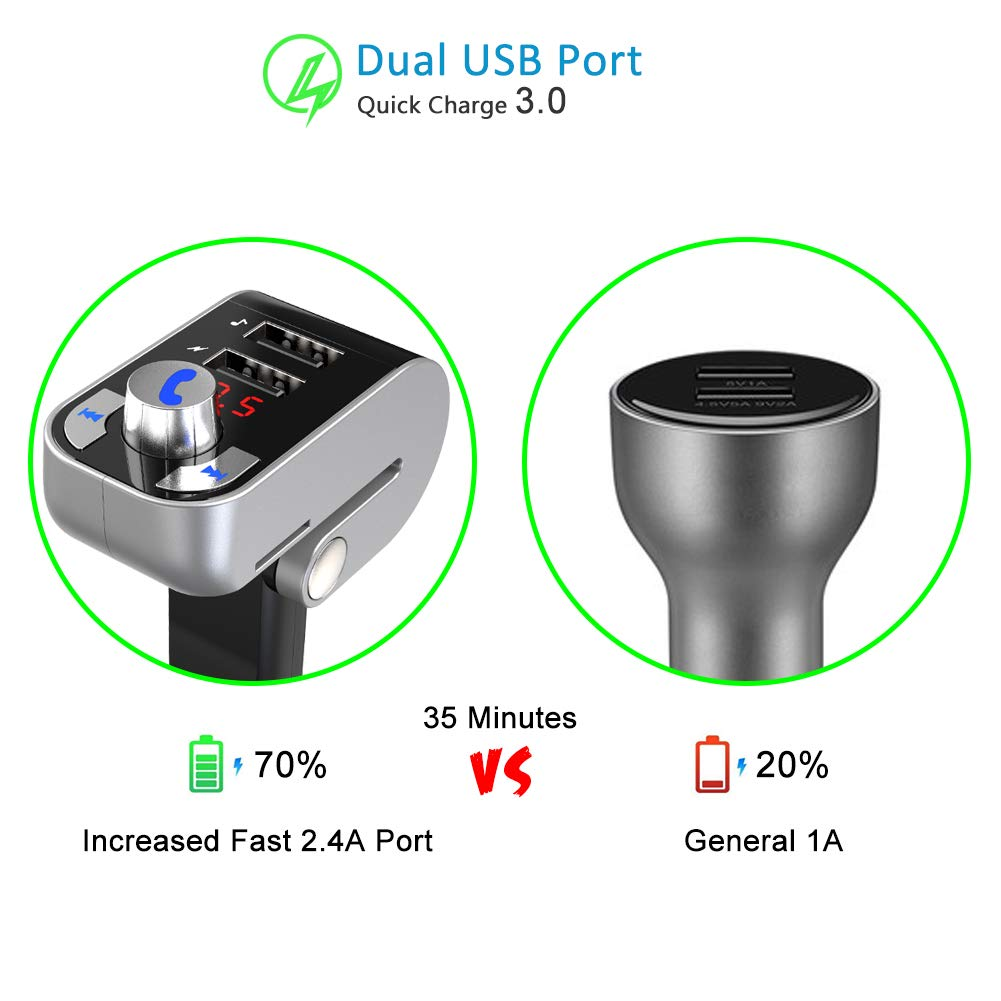 Handsfree Call for Smartphone Autmor 4351481259 Dual USB Car Charger FM Modulator Support USB Drive//TF//SD Card Manfiter Bluetooth FM Transmitter Wireless Radio Adapter Car Kit Bluetooth 4.2 Transmitter Audio for Car