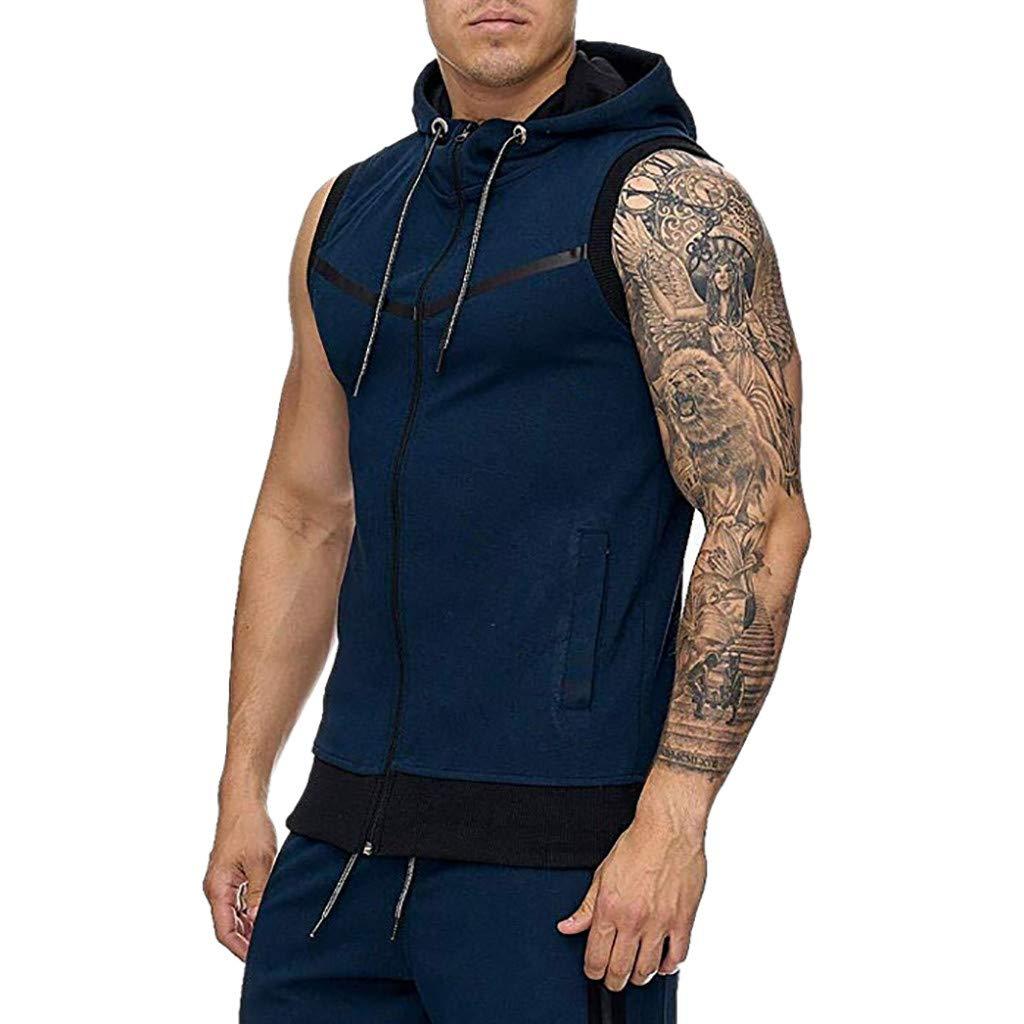 Save 15/% BBesty Mens Hooded Stitching Stripe Line Jacket Lightweight Sleeveless Vest T-Shirt Blouse Tops