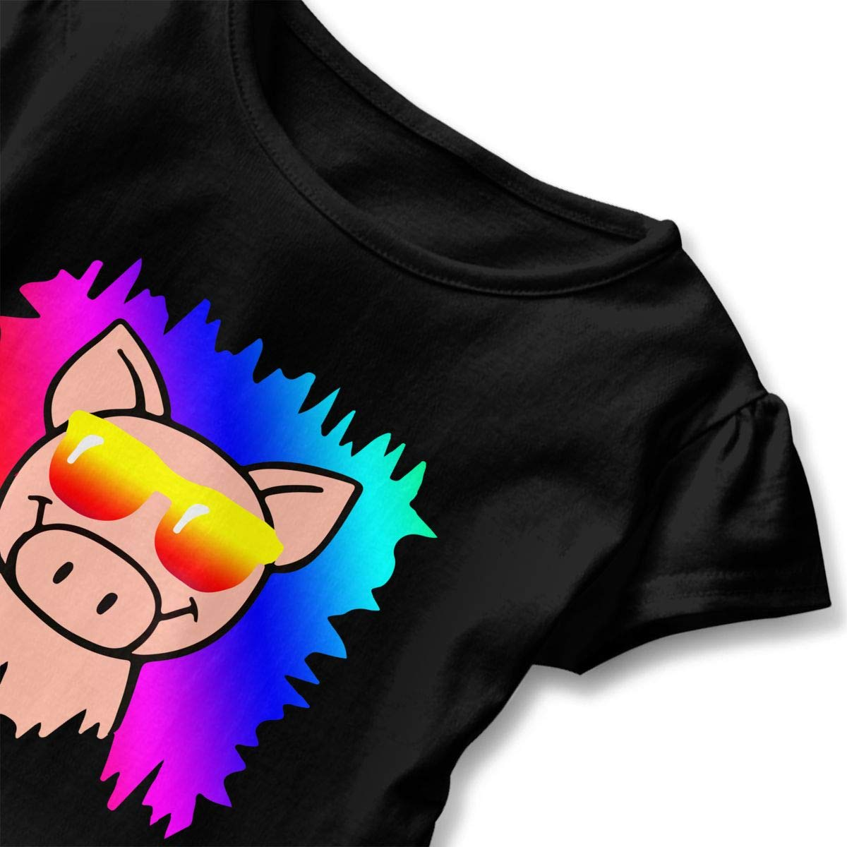 Funny Hipster Pig Face with Glasses Toddler Baby Girls Short Sleeve Ruffle T-Shirt