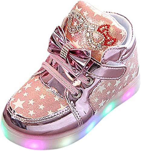 New Cute Toddler Girls Sneakers Kids Lights Shoes Casual Shoes Size 5-11