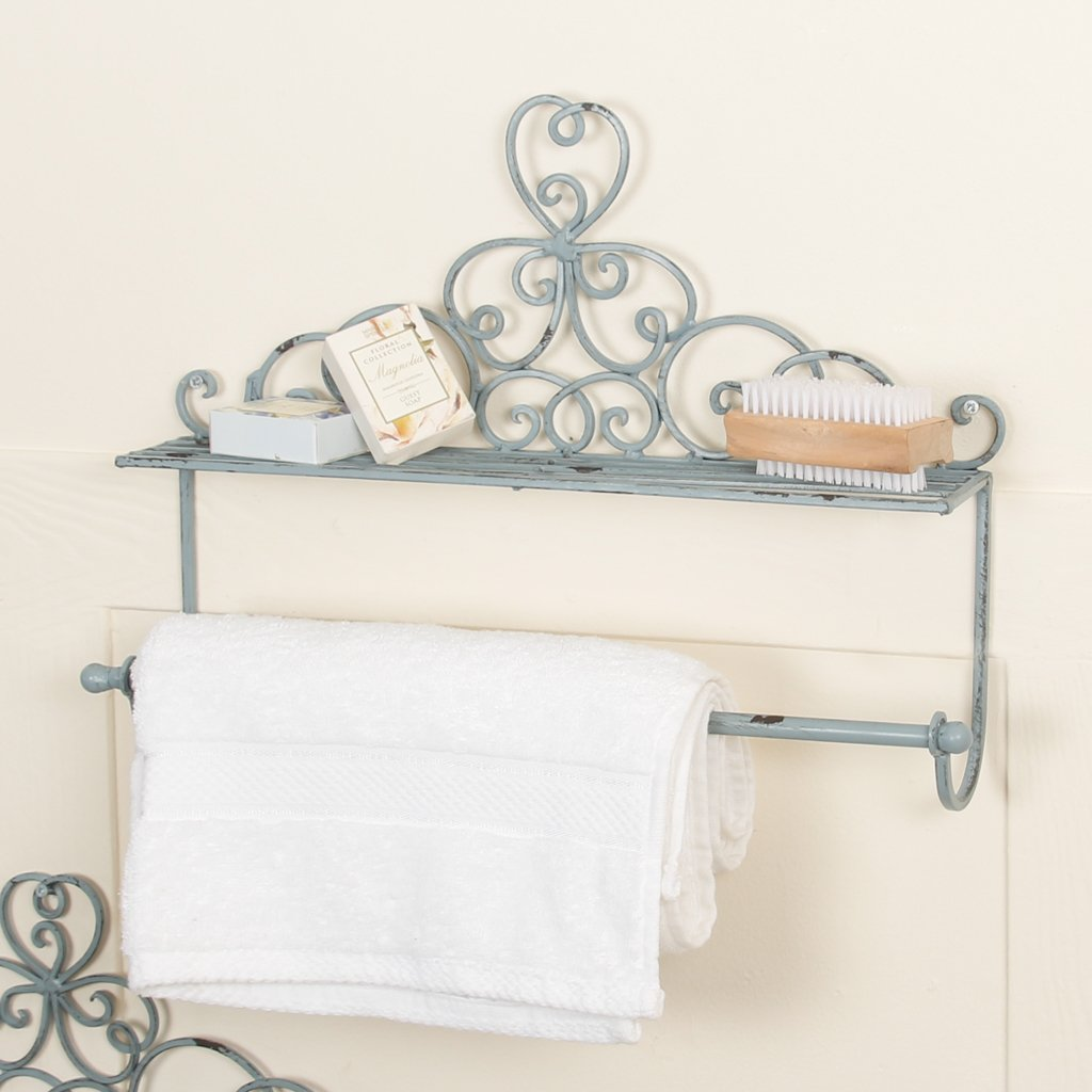 Blue Clover Shelf & Towel Rail for Bathroom or Kitchen with Shabby Chic Finish and Ornate Clover Design - Great for towels and cosmetics, toiletries - ideal gift for housewarmings, birthdays, weddings etc - french vintage - (W40 x H29 cm) Dibor