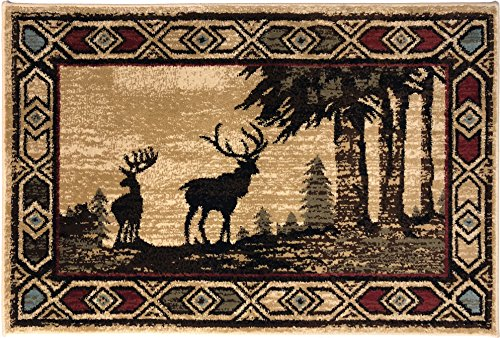 - Mayberry Rugs AD8001 Rustic Lodge Deer - 2'3