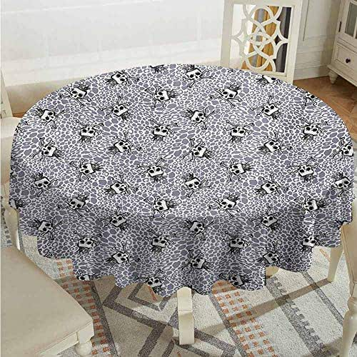 XXANS Indoor/Outdoor Round Tablecloth,Skull,Crowned Skull Crossbones Illustration Against Animal Skin Print Pattern,Modern Minimalist,43 INCH,Black White Purplegrey