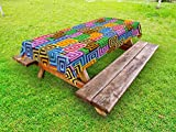 Ambesonne Modern Outdoor Tablecloth, Ethnic Africa Tribal Geometric Mosaic Like Design Colorful Vivid Lines Artwork Print, Decorative Washable Picnic Table Cloth, 58 X 120 inches, Multicolor
