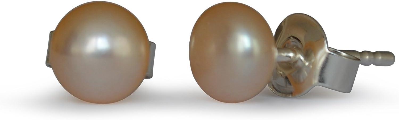 Pendientes de perlas de freshwater, natural, rosado, 5-5.5mm, plata de ley 925