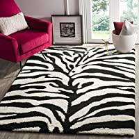 Safavieh Zebra Shag Collection SG452-1290 Ivory and Black Area Rug (53 x 76)