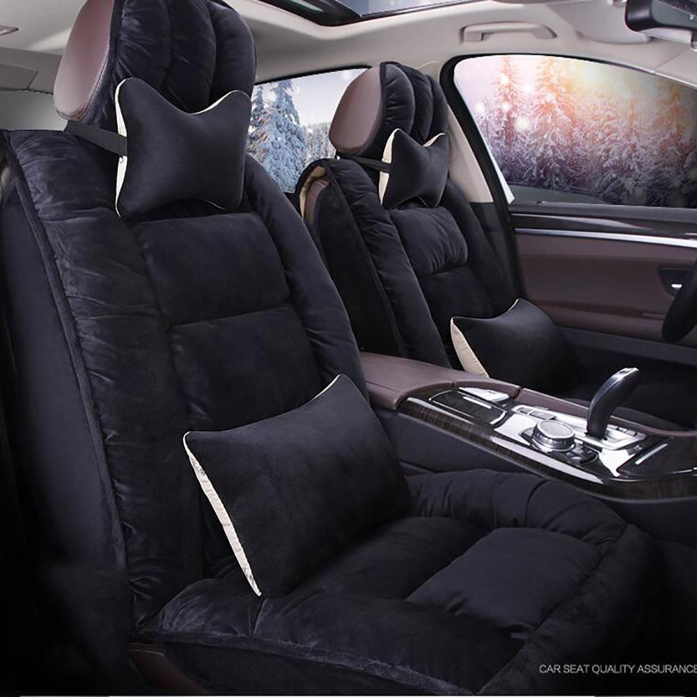 Auto Accessories New 3D Full of Winter Short Plush Car Cushion Winter Warm Feathers Cushion, Black, B