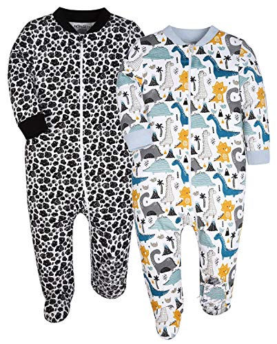 YXD Baby Boys Dinosaur Pattern 2-Pack Zipper Footed Pajamas Cotton Sleepers Infant Pjs Anti Slip Toddler Jumpsuit Clothes(3-6 Months)