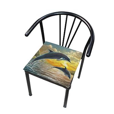 Bardic FICOO Home Patio Chair Cushion Ocean Dolphin Sunset Square Cushion Non-Slip Memory Foam Outdoor Seat Cushion, 16x16 Inch: Home & Kitchen