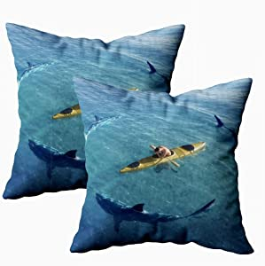 KIOAO Fall Pillow Case, Standard 2Sets 18X18Inch Soft Pillowcase Covers Man in Boat Kayak was The Middle of Ocean Surrounded by Sharks Printed with Both Sides,Christmas Day