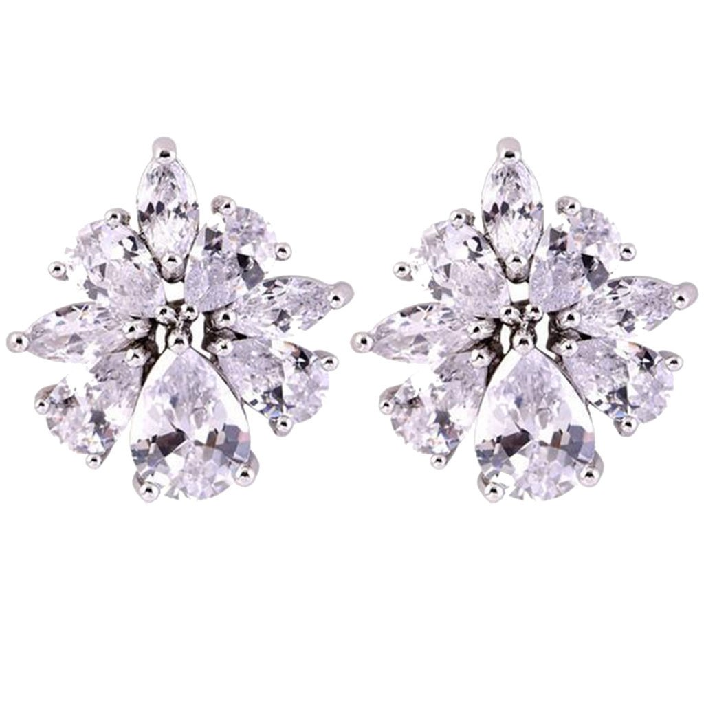Cubic Zirconia Ice Flower Clip on Earrings for Girls Women Back U Clip Non Pierced White Gold Plated