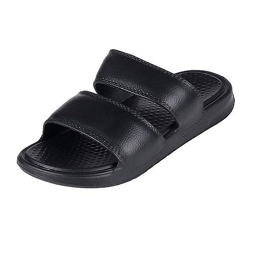 6105e7649987 Black Double Strap Slide Sandals Women Ultra Lightweight Arch Support Bath  Slippers Water Slides S