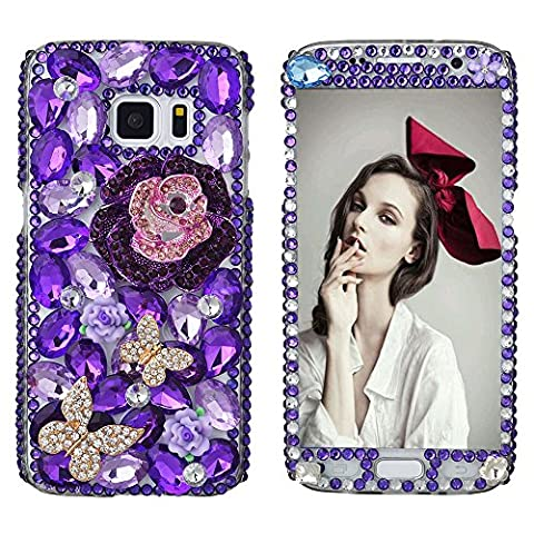 Spritech(TM) Bling Phone Case For Samsung Galaxy S7 Edge,3D Handmade Front and Back Purple Crystal Flower Pattern Accessary Design Clear Cellphone