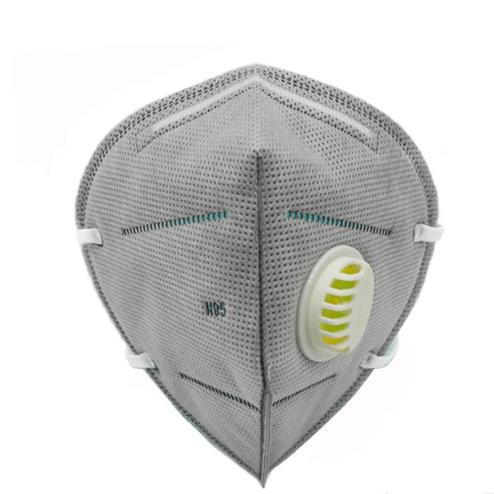20 mascherine antipolvere PM 2,5, mascherine per naso e bocca tridimensionali con filtro anti polvere, valvola respiratoria anti foschia per stare all'aperto e andare in bici, Grey Elandy