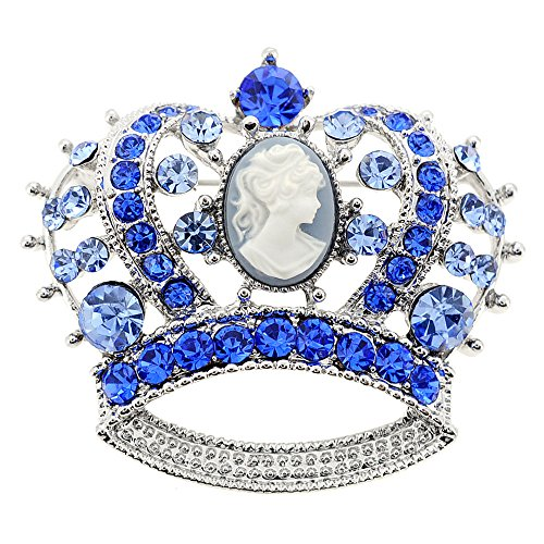Blue Cameo Crown Crystal Pin Brooch - Brooch Crown Pin Jewelry