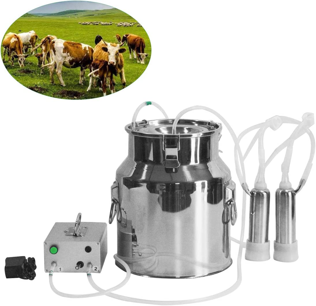 Goat Milker Farm 14L Electric Milking Machine Vacuum Pump Stainless Steel Cow
