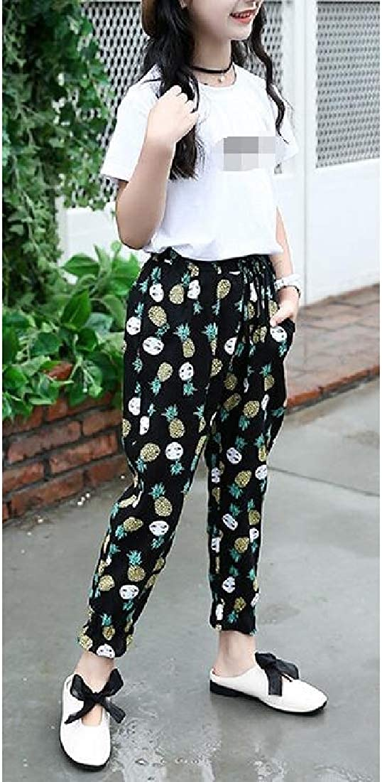 CMCYY Girls Hipster Floral Jogger Ankle Trousers Cute Pants