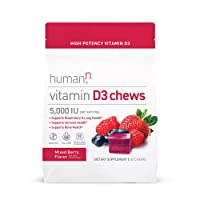 humanN Vitamin D3 Chews with 5,000 IU of high-Potency Vitamin D3 for Immune Health Support, Mood, Respiratory, and Bone Health Support, Mixed Berry Flavor, 30-Count