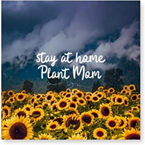 yyone Framed Canvas Printing Wall Décor Stay at Home Plant Mom, Canvas Art Print Ready to Hang Wall Decoration for Living Room/Bed Room