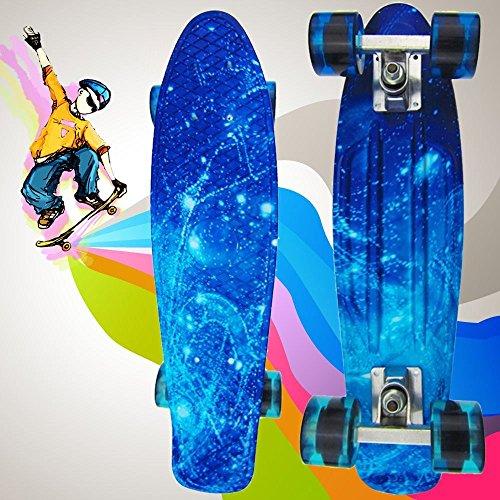 YUFENG 100kg Load Retro Skateboard Starry Sky Pattern Mini Board for Outdoor Sport