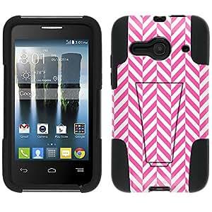 Alcatel One Touch Evolve 2 Hybrid Case Chevron Mini Pink White 2 Piece Style Silicone Case Cover with Stand for Alcatel One Touch Evolve 2