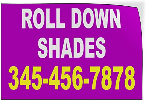 Custom Door Decals Vinyl Stickers Multiple Sizes Roll Down Shades Phone Number Purple Business Blinds and Shades Outdoor Luggage /& Bumper Stickers for Cars Purple 58X38Inches Set of 2