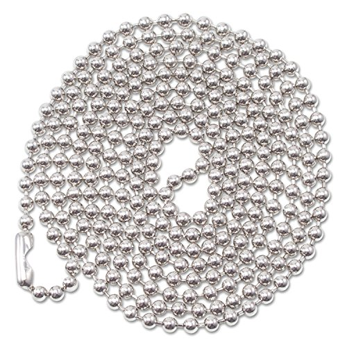 Advantus 75417 ID Badge Holder Chain, Ball Chain Style, 36-Inch Long, Nickel Plated, 100/Box - Nickel Plated Beaded Id Chains
