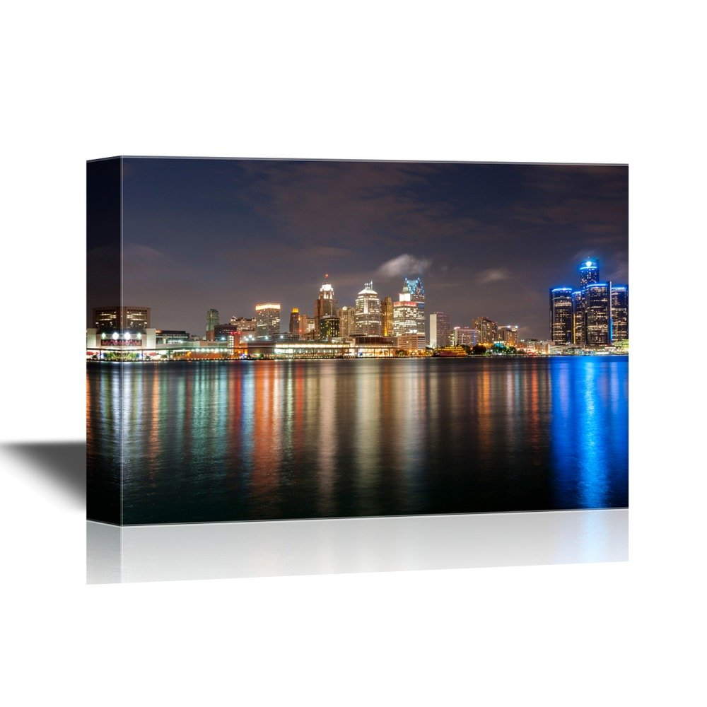 wall26 - USA City Skyline Canvas Wall Art - The Skyline of Detroit Michigan at Night Time - Gallery Wrap Modern Home Decor | Ready to Hang - 32x48 inches