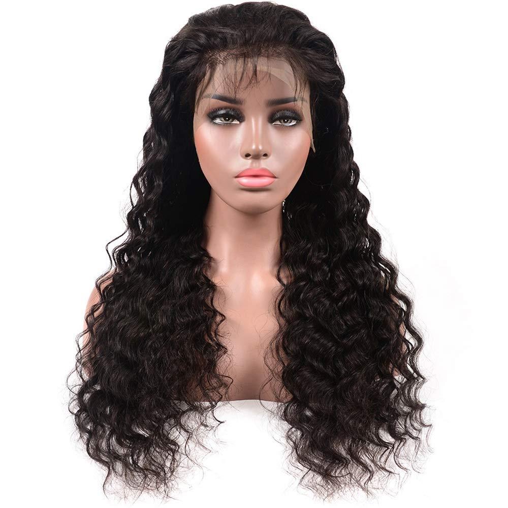 高品質 YESONEEP ディープウェーブハーフハンド100%本物の人間の髪の毛の自然な黒の長い巻き毛のレースフロントかつら女性の毎日のドレス(8