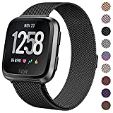 CAVN Compatible Fitbit Versa Bands/Versa Lite Edition Bands for Women Men, Replacement Milanese Loop Metal Stainless Steel Wristband Accessories Compatible Fitbit Versa Smart Watch