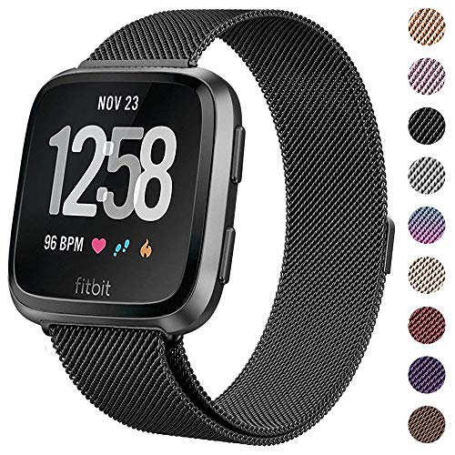 CAVN Compatible Fitbit Versa Bands for Women Men, Replacement Milanese Loop Metal Stainless Steel Wristband Accessories Compatible Fitbit Versa Smart Watch (L(6.5''-9.3), 04-Black)