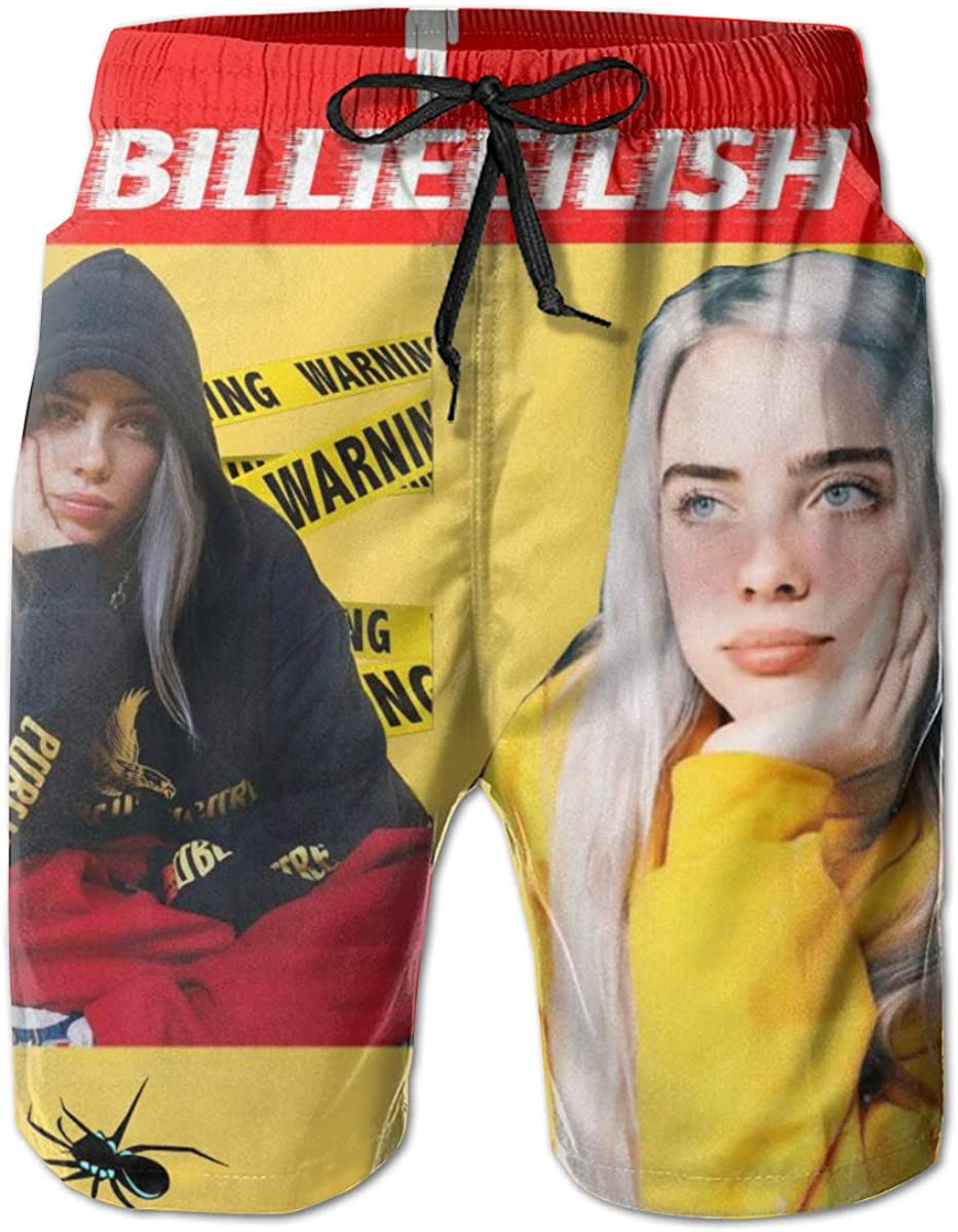 Billie Eilish Swimming Trunks Beach Swimming Shorts Beach Board Shorts with Pockets Quick Dry Swimming Pants White