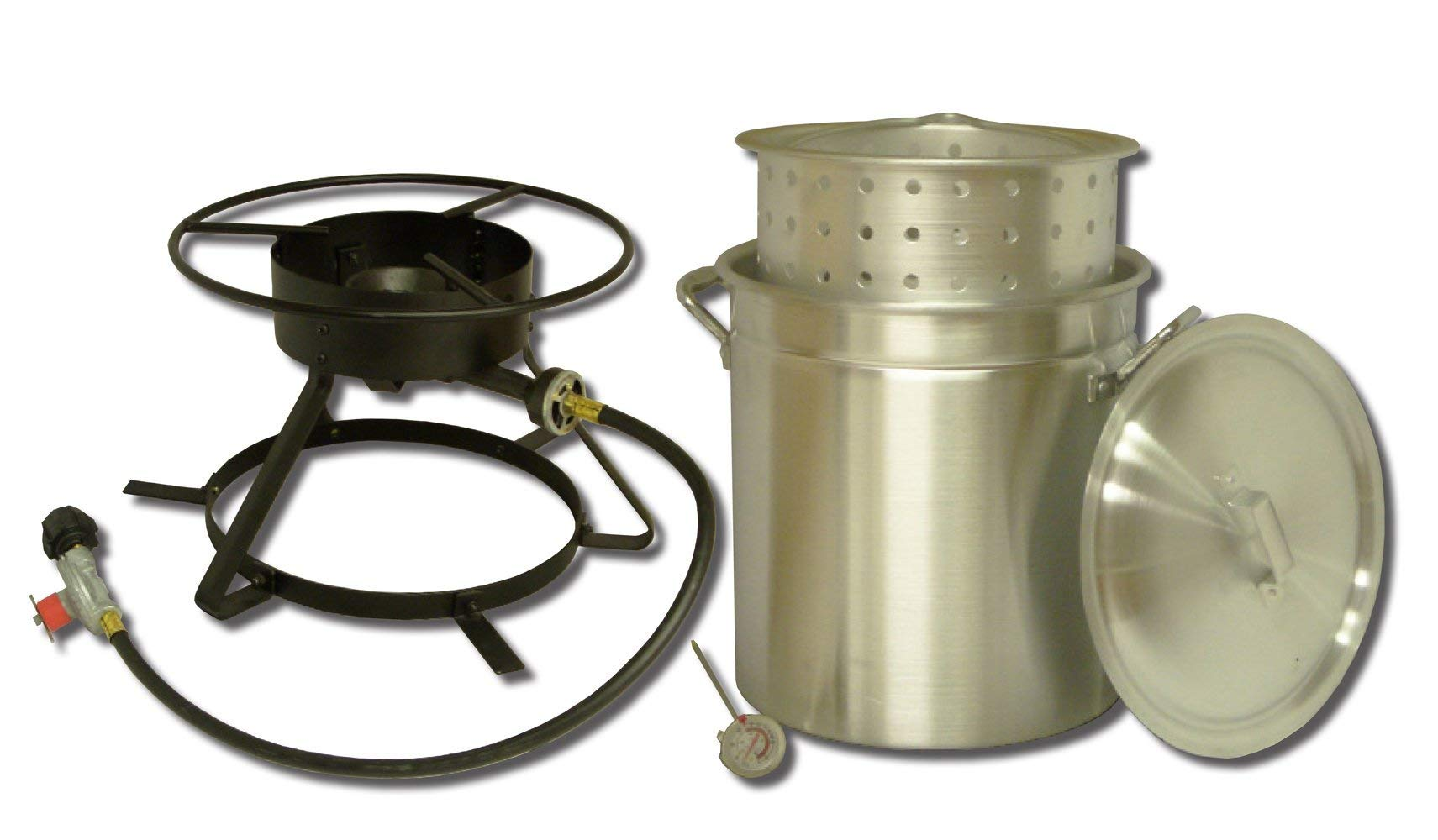 King Kooker 5012 Portable Propane Outdoor Boiling and Steaming Cooker Package with 50-Quart Aluminum Pot and Steaming Basket (Renewed)